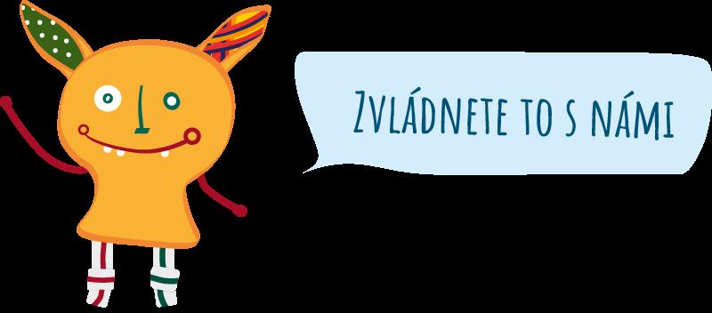 obrázek pižďucha s textovou bublinou zvládnete to s námi, Eliada Brno